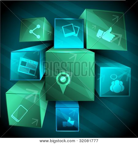 Set of 3D web 2.0 icons for web applications, Internet & website icons and social networking icons  in blue and green color on abstract background with transparency effect. EPS 10.