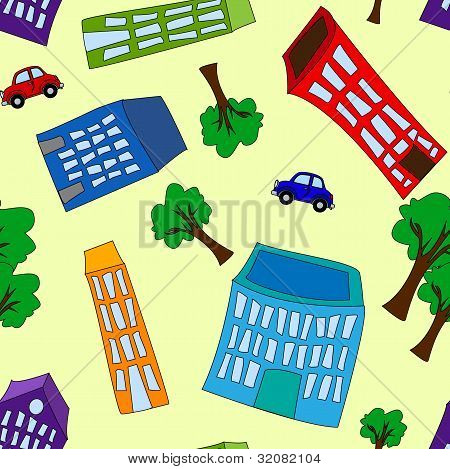 Seamless Pattern Of Buildings And Trees