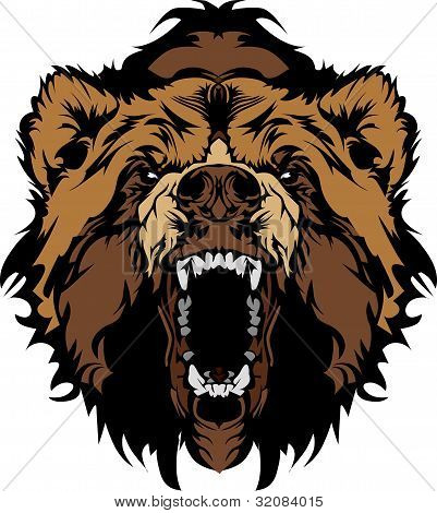 Cabeza de la mascota de oso grizzly Vector Graphic
