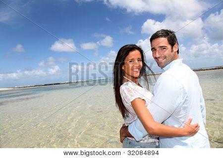 Closeup freudig paar auf Hochzeitsreise Reisen