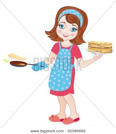 Girl Fries Pancakes On Shrovetide. Vector Illustration