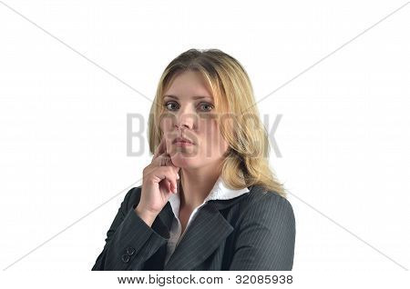 Portrait Of Attractive Caucasian Woman Isolated On White