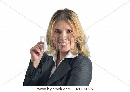 Portrait Of Attractive Caucasian Smiling Woman Isolated On White