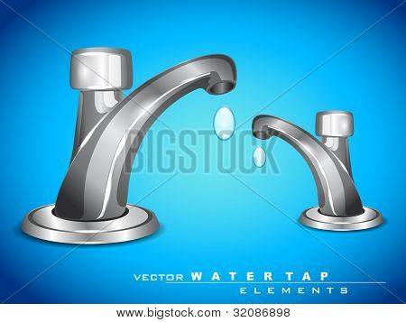 Vector modern steel water tap with falling water drop can be used for Save water concept. EPS 10. Vector illustration.