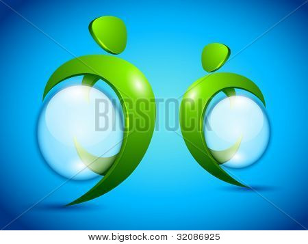 Save Eco-icon green dancers with water drops can be used for Save water and save trees concept. . EPS 10. Vector illustration.