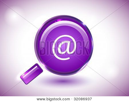 Isolated website and internet web 2.0 icon for searching with search symbol in purple color. Vector illustration in EPS 10.