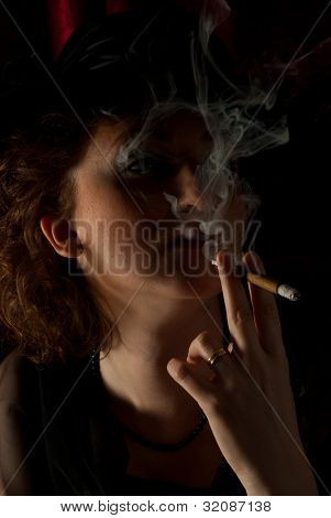 Smoking Woman In Night