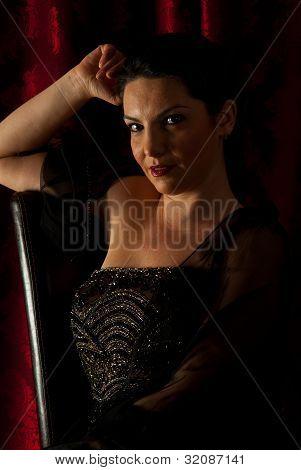 Beauty Elegant Woman In Darkness