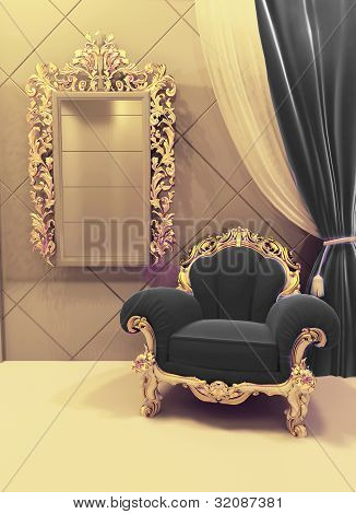 Royal  Furniture In A Luxurious Interior, Black Upholstery And Golden Baroque Frame