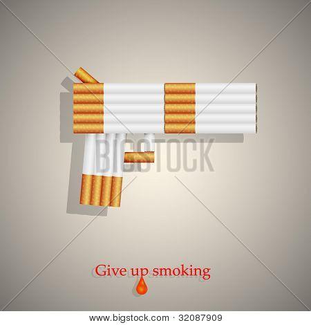 El concepto de un arma de cigarrillos. Ilustración del vector. Eps10