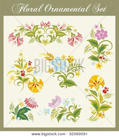 Vector set of floral ornaments in Russian traditional style.