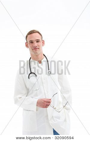 Young Doctor Or Medical Student Holding Glasses
