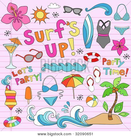 Hawaiian Surf's Up Summer Psychedelic Groovy Notebook Doodle Design Elements Set on Pink Lined Sketchbook Paper Background- Vector Illustration