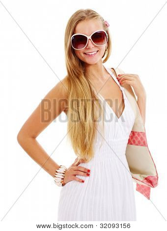 Beautiful smiling girl in white dress with beach bag and big sun glasses. Isolated on white background, mask included