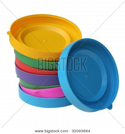 Several Colored Lids For Cans