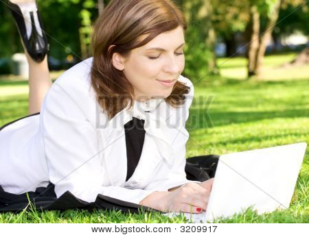 Office Lady In Park