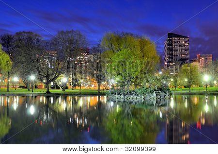 Skyline of Boston, Massachusetts from the Boston Public Gardens.