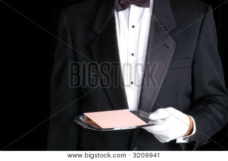 Butler With Tray And Envelope