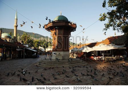 sarajevo capital of bosnia in europe, old city center historical fountain and popular travel destination