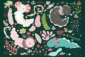 Cute Summer Kawaii Axolotl, Baby Amphibian Drawing. Cute Animal Drawing, Funny Cartoon Illustration. poster