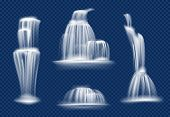 Waterfall. Water Cascade Flowing With Splashes And Drops Fast Transparent Natural Vector Realistic W poster