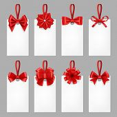 Gift Cards With Ribbons. Tags With Textile Bow From Elegant Silk Ribbon For Present Vector Realistic poster