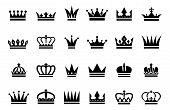 Black Crown Icons. Vector Different Crown Silhouettes Isolated On White Background. Illustration Sil poster