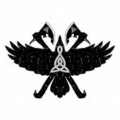 Vector Illustration Of A Raven With Open Wings. Scandinavian Myths.  Traditional Ancient Celtic Sacr poster