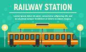 Railway Village Station Concept Banner. Flat Illustration Of Railway Village Station Vector Concept  poster