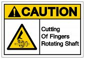 Caution Cutting Of Fingers Rotating Shaft Symbol Sign, Vector Illustration, Isolate On White Backgro poster