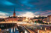 Stockholm, Sweden. Scenic View Of Stockholm Skyline At Summer Evening. Famous Popular Destination Sc poster