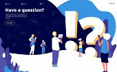 Faq Landing Page. People Ask Questions And Get Answers. Questioning Person, Problem Solution Abstrac poster