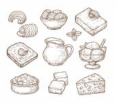 Sketch Dairy Products. Milk Fresh, Cheddar Cheese And Farm Curd Buttercream Vintage Hand Drawn Culin poster