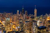 Aerial View Of Chicago Cityscape Skyscraper Under The Blue Sky At Beautiful Twilight Time In Chicago poster
