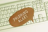 Handwriting Text Writing Phishing Alert. Concept Meaning Aware To Fraudulent Attempt To Obtain Sensi poster