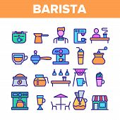 Color Barista Equipment Sign Icons Set Vector Thin Line. Coffee And Latte Cup, Beverage Machine And  poster