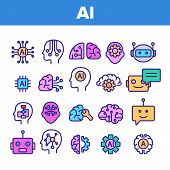 Color Artificial Intelligence Elements Vector Icons Set Thin Line. Brain And Droid Robot, Chip And P poster