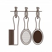 Set Of Hairbrush Combs And Hairbrushes On White Background Vector Illustration Design poster