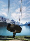 foto of tire swing  - Empty tire swing - JPG