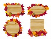 Wooden Signs With Autumn Leaves. Yellow Fall Leaf, Seasonal Wood Banner. Autumnal Signboard, Farm Ru poster