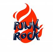 Flames And Typing Rock Vector Emblem Or Logo, Rock And Roll, Hard Rock, Punk And Heavy Metal Music S poster