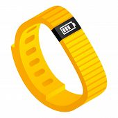 Yellow Fitness Tracker Icon. Isometric Of Yellow Fitness Tracker Vector Icon For Web Design Isolated poster
