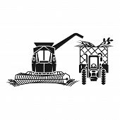 Combine Harvester Fill Tractor Icon. Simple Illustration Of Combine Harvester Fill Tractor Vector Ic poster
