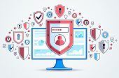 Shield Over Computer Monitor And Set Of Icons, Private Data Security Concept, Antivirus Or Firewall, poster