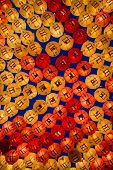 Rows And Rows Of Colorful Illuminated Buddhist Lotus Lanterns Hanging Overhead At The . Jogyesa Budd poster