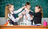 Little Children. Science. Biology Experiments With Microscope. Little Girls And Boy In Lab. Chemistr poster
