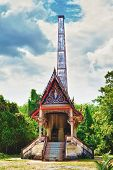 stock photo of crematory  - traditional thai crematory in forest at sunny day - JPG