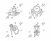 Chemistry Lab, Safe Time And Thoughts Line Icons Set. Winner Podium Sign. Laboratory, Hold Clock, Bu poster