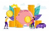 Save Money. Woman And Man With Piggy Bank. Buying House On Credit. Vector Illustration. Credit Proje poster