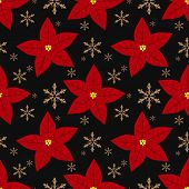 Christmas Holiday Season Seamless Pattern Of Red Poinsettia, Christmas Flowers And Snowflakes For Gr poster
